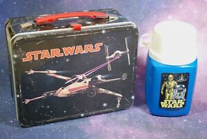 Vintage Star Wars METAL Lunch Box + Thermos White Cup King Seeley X-Wing Fighter