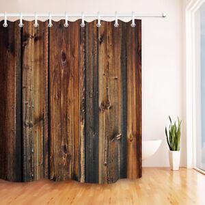 Rustic Retro Brown Wooden Planks Fabric Shower Curtain Set Bath Decor