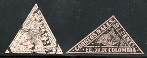 9/60.COLOMBIA.18/65 SC.36,1869 SC.59,TRIANGULAR STAMPS LOT.