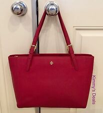 Tory Burch Small York Buckle Tote In Kir Royale Red Saffiano Leather MSRP $245
