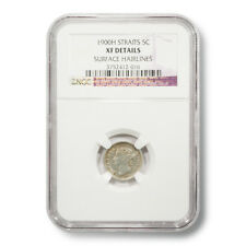 1900H British Straits Settlements Victoria 5 Cents XF-DETAILS NGC Encapsulated S