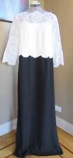 NWT Tadashi Shoji Shiloh Lace Top Gown Black and Ivory Size 14Q