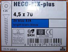 10 HECO-FIX-plus® Universalschraube Senkkopf T-25 ZN blau 4,5 x 70 mm ähnl. SPAX