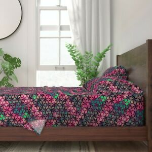Floral Abstract Geometric Watercolor 100% Cotton Sateen Sheet Set by Roostery