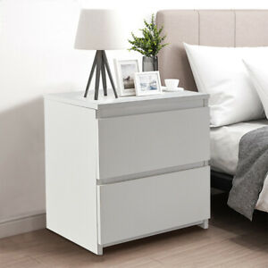 Modern White Bedside Table Cabinet Chest of Drawers Nightstand With 2 Drawers UK