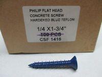 1/4 X 1-3/4 CONCRETE SCREWS 88 PCS PHILIPS FLAT HEAD BLUE TEFLON (ZZ0285)