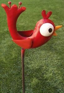 """Garden Lawn Yard Decoration Whimsically Styled Red Bird NEW 22"""" tall"""