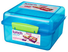 Sistema Blue 2L Lunch Cube Max Multi Compartment Sandwich Yoghurt School Food