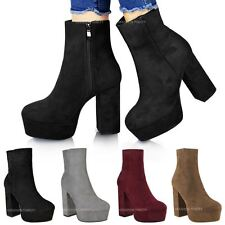 Womens Ladies Chunky Platform Ankle Boots Block High Heel Cleated Shoes Size