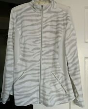 Fabulous Chico's Zenergy Zebra Gray/white Golf Size 2 Top Jacket,