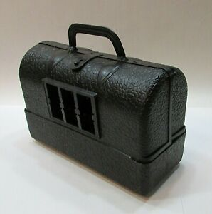 Vintage 1960's Hasbro Toy Black Textured Plastic Doctor's Empty Bag Case FREE SH