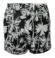 KETCHUP BLACK HIGH WAISTED SHORTS WITH WHITE PALM TREE PRINT SIZE 6,8,10,12,14.