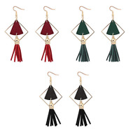 Vintage Women Wood Triangle Tassel Ear Stud Drop Dangle Earrings Jewelry Gift