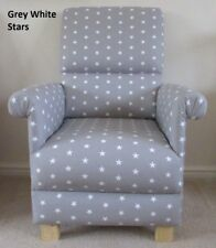Grey White Stars Fabric Adult Chair Nursery Armchair Bedroom Accent Kitchen New