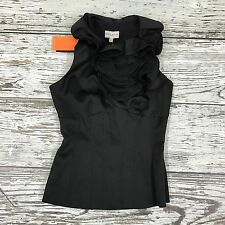 NEW KAREN MILLEN Black Fitted Ruffle High Neck Top Occasion Size UK 8 05252
