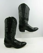 Men's Justin Black Leather Western Cowgirl Boots Size : 7.5 D