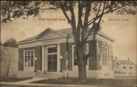Plainville CT First National Bank c1910 Postcard