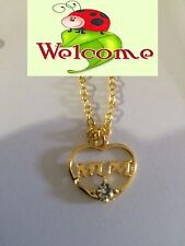 BRAND NEW GP MUM PENDANT WITH NECKLACE AND A CLEAR RHINESTONE  AUS SELLER 74W