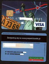 Prepaid, debit  card. Bank BZ WBK. No name. IBAN. Visa. USD. + Sim card