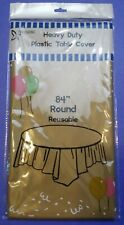 """84"""" Round Disposable Heavy Duty Plastic Table Cover Cloth Cheap Picnic Event"""
