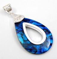 Natural Blue Paua Abalone Shell 925 Sterling Silver pendant Women Jewelry SA059