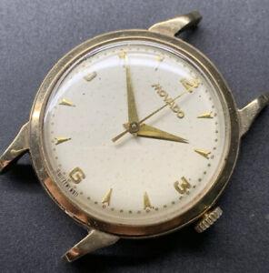 1954 9k Gold Movado Central Second Cal 125 Rare Dennison UK Market Case