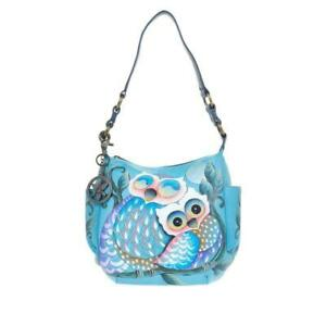 Anuschka Owl Denim Tiles Hand-Painted Leather Hobo with Coin Pouch - NWT