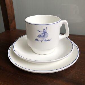 Vintage WEDGWOOD Bank of England Tea Coffee Cup Saucer Set Trio Britannia Blue