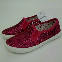 NEW! Cat & Jack Girls Toddlers Slip On Glitter Sneakers Fuchsia Size 10, 11, 12