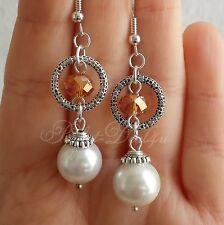 WHITE Round Earrings Long Dangle Swarovski 925 Sterling Silver Hook Tibetan