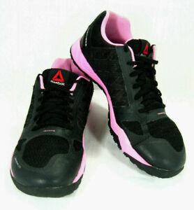 Reebok Womens Training Shoes Sz 10 Black Pink Nanoweb Smooth Fuse 1Y3501  *2