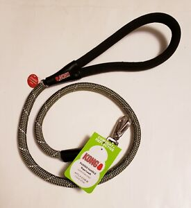 New Kong Reflective Olive Green Rope 4ft Dog Leash Padded Handle Heavy Duty