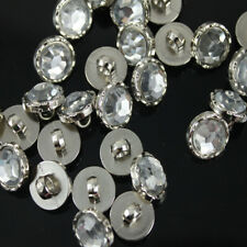100 Pcs Crystal Clear Acrylic Rhinestone Silver Back Sewing Shank Buttons Craft