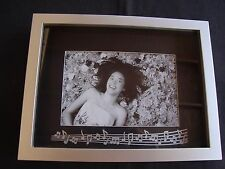 "MUSIC Shadow Box Photo Frame Silver Great 8.5"" x 6.75"" MUSIC Gift  Frame NIB"
