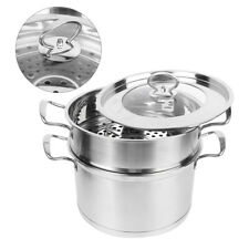 2 Tier Stainless Steel Food Soup Pot Steamer Set Induction Hob Cookware Steam
