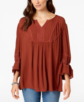 Style & Co Crochet-Trim Peasant Top in Rich Auburn, Size XXL, Retail $54.50