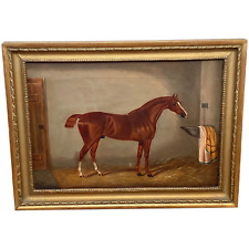 Fine Victorian Oil Painting Chestnut Horse Portrait In Stable Signed Edwin Loder