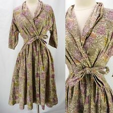 Vintage 50s Sue Sherry Greek Architecture Novelty Print WRAP Full Skirt Dress S