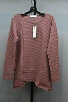 Mod-O-Doc Heathered Jersey Stripe Asymmetrical Hem Long Sleeve Tee, Women's S