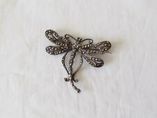 Beautiful Silver Dragonfly Brooch with Marcasite Stones English Hallmarks