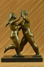 SIGNED FERNANDO BOTERO BRONZE STATUE DANCING WOMAN & MAN ABSTRACT MODERN ARTUG