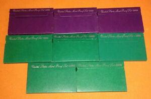 Lot Of 8 USA Mint Proof Sets 1991-1998 With Box & COA