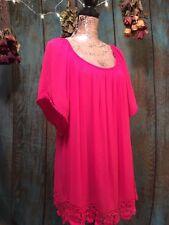 """Woman's Size 1X Blouse By """"Bobeau"""", Hot Pink Fuchsia , NWT"""