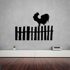 Wall Stickers Vinyl Decal Rooster Bird Farm Village Fence Nice Decor (ig990)