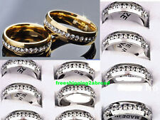 wholesale 50 zircon Gold Silver wedding  Stainless steel Rings couple Jewelry