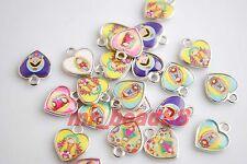 25Pcs Cartoon Girl Dolls Enamel Heart Charms Pendants Jewelery Findings 17x15mm