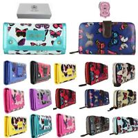 Ladies Designer Oilcloth Butterfly Folded Zip Wallet Purse Hand Bag Clutch Gift
