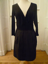NWT: DKNY Dress- Black Crossover Top with Pinstripe Straight Skirt, Size 12