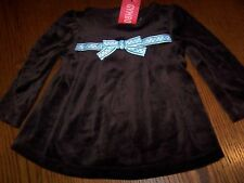 Nwot Gymboree Girls Best Friend Brown Velour Swing Top 12-18 Mo Free Us Shipping