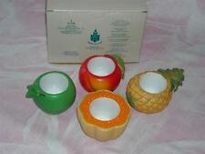 "Set of Party Lite "" Fruit Splash"", #P7149,4 Ceramic Candle Holders, NIB,Votive"